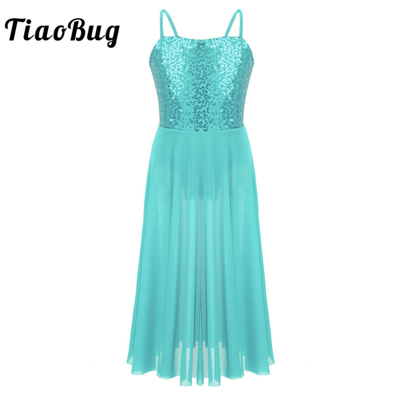 <font><b>TiaoBug</b></font> Kids Teens Spaghetti Straps Sequins Gymnastics Leotard Girls Long Tulle Ballet Dress Contemporary Lyrical Dance Costumes image