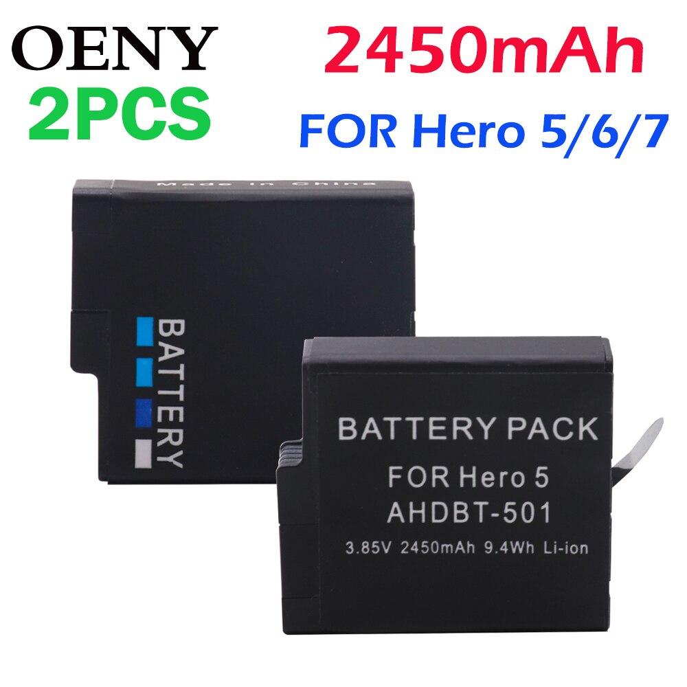 2 pièces AHDBT-501 AHDBT501 batterie pour GoPro Hero 5 batterie Hero 5 Black Hero(2018) Hero 6 Hero 7 caméra noire
