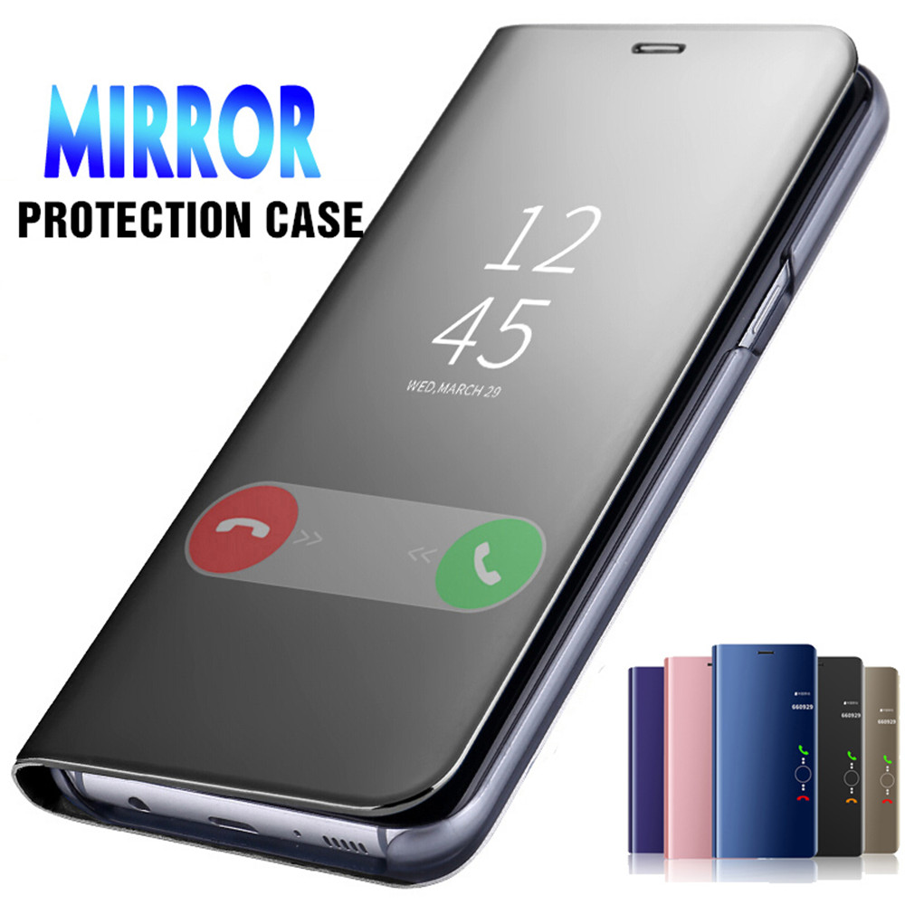 Smart Mirror Flip <font><b>Phone</b></font> <font><b>Case</b></font> For <font><b>OPPO</b></font> <font><b>A3</b></font> A5 A9 2020 Clear View Window Mirror <font><b>Case</b></font> For Reno 2Z Z A11X A11 Stand Leather Cover image