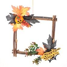 Wood Halloween Black Pumpkin Star Shape Wall Decoration Simulation Autumn Maple Leaf Berry Wreath