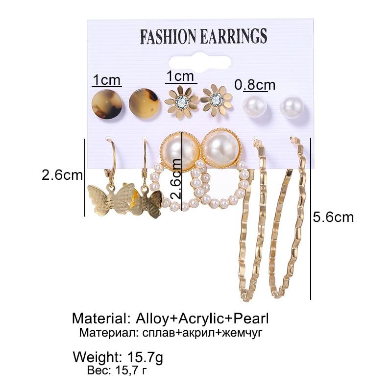 FNIO Women's Earrings Set Pearl Earrings For Women Bohemian Fashion Jewelry 2020 Geometric Crystal Heart Stud Earrings—US $1.79 – 3.29