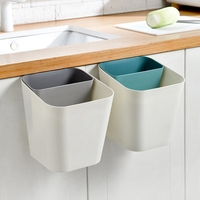Wall-mounted Trash Can Kitchen Cabinets Rectangular Uncovered Hanging Plastic Storage Bucket Household