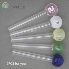 FATUBE 2PCS 12mm Holland Styled Pyrex Curved Shisha Glass tube (Random Color)