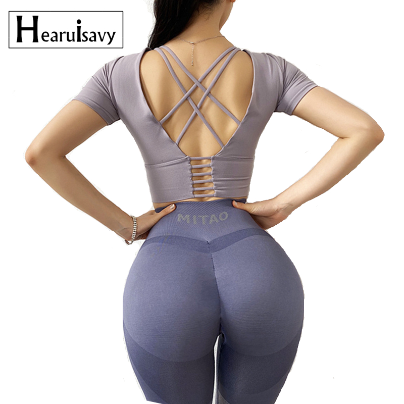 Back Cross Tight Sport Top Gym Yoga Shirts Women Short Sleeve Shirts Workout Fitness Crop Top with chest pad Running Clothing