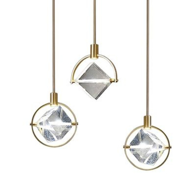Postmodern minimaliste pendentif LED lumières nordique cristal salle à manger salon Luminaires chevet chambre simple tête suspension lampe