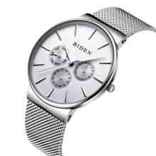 BIDEN Casual Men's Watch Classic Male Quartz Wristwatch Mesh Water Resistant Sport Zegarek Meski Creative Jam Tangan Pria Clock стоимость