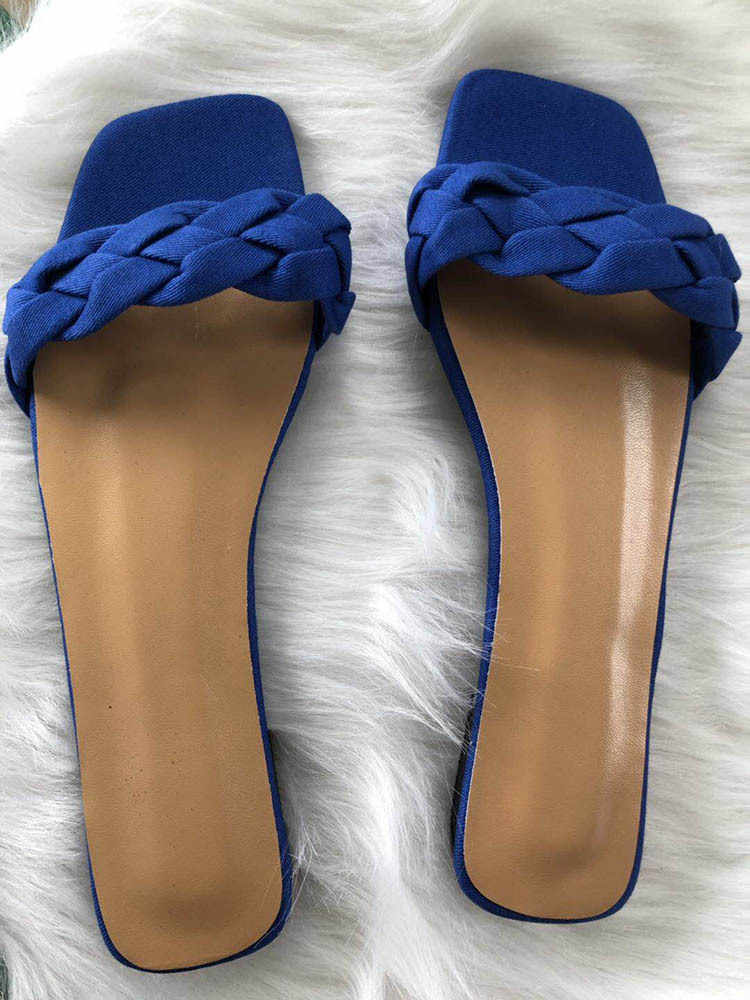 夏の女性の織デニムセクシーなフラットスライド女性のカジュアルフリップは、ファッションカットアウトサンダル Mujer ビーチ靴