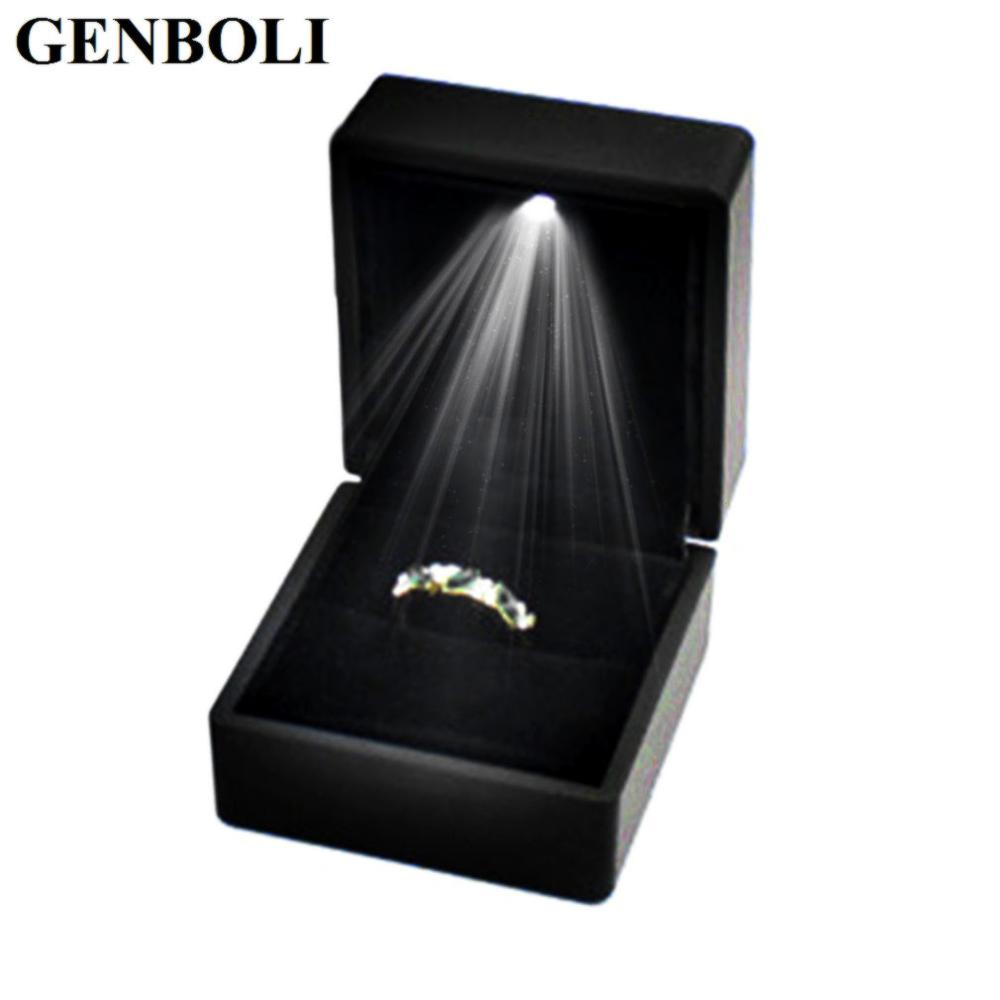 Organizer Storage LED Lighted Wedding Ring Boxes Propose Surprise Earring Ring Gift Box Wedding Engagement Ring Jewelry Display