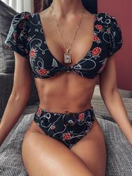 2020 nadruk w stylu vintage bikini dwuczęściowe wysokiej talii stroje kąpielowe kobiety strój kąpielowy tankini mujer strój kąpielowy Badpak dames 1