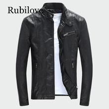 Rubilove Mens PU Jackets Coats Autumn Winter Motorcycle Biker Faux Leather Jacket Men Clothes Thick Velvet M-3XL