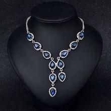 Women Simple Necklace Exaggerated Water Drops Crystal Gem Pendant Color-preserving Vacuum Plating Necklace Jewellery цена 2017