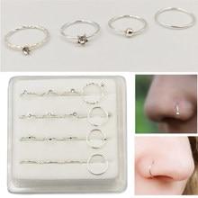 16 sztuk/paczka 925 Sterling Silver hoop kolczyk w nosie 22 G kolczyk typu Huggie piercing biżuteria do ciała