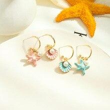 2020 Fashion Female Spray Paint Starfish Drop Earrings For Women Bohemian blue color Alloy Shell Dangle Earring Jewelry