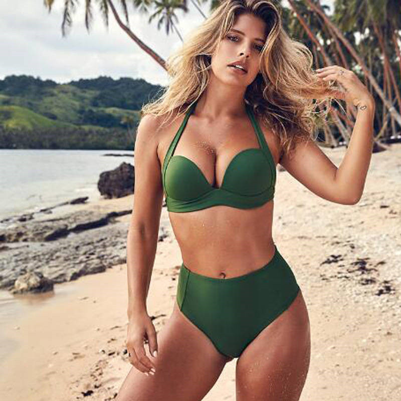 <font><b>Sexy</b></font> High Waist <font><b>Bikini</b></font> Set Swimwear Women Swimsuit Push Up 2019 Female <font><b>Bikinis</b></font> Solid Red Green Halter Top Bathing Suit Beachwear image