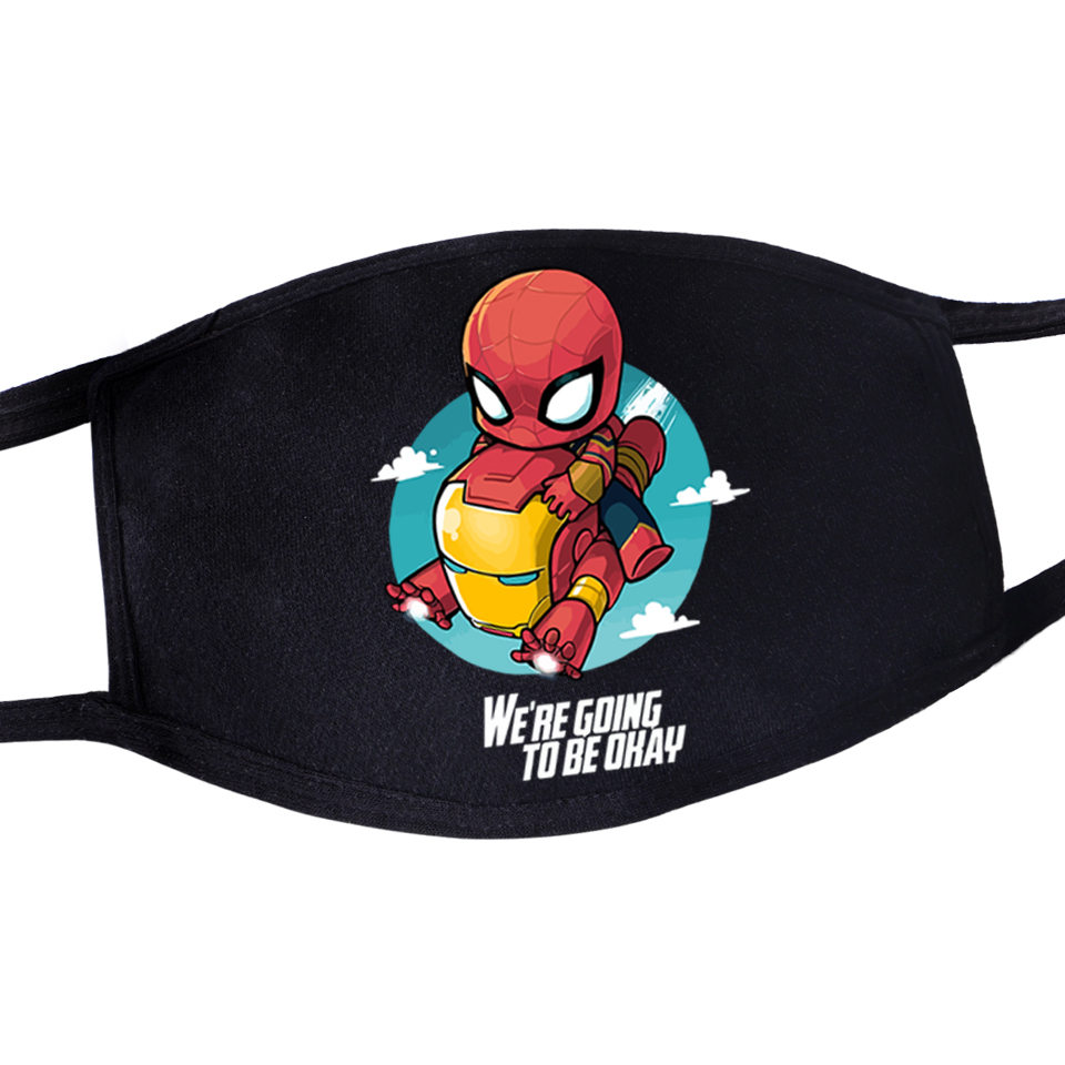 Marvel Superhero Protective Masks Spiderman And Deadpool Printed Fashion Windproof Face Mask Reusable Washable Anti Dust Masker