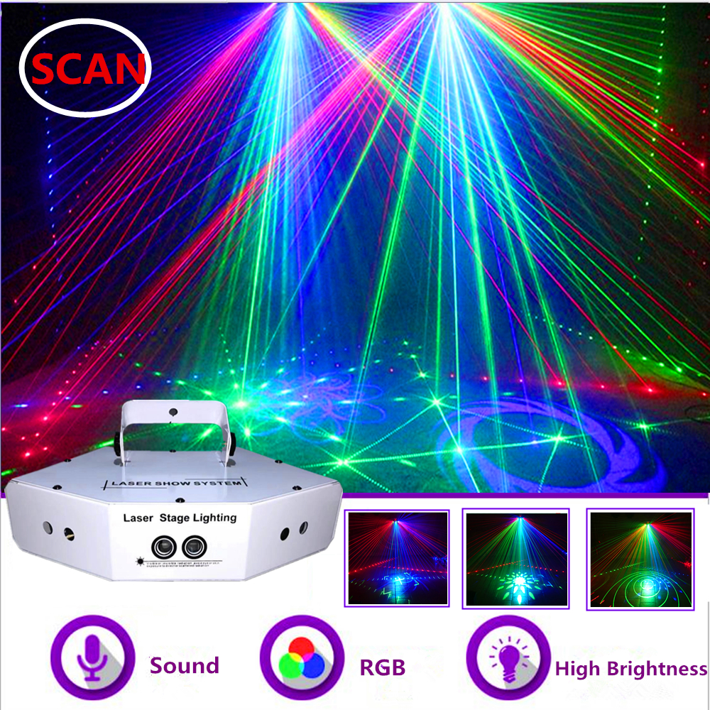 6 Eyes RGB Scan Laser Light DMX512 Image Lines Beam Effect Scan Stage Lighting  DJ Disco Bar Xmas Home Party Laser Scanner System Show
