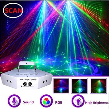 6 Eyes RGB Scan Laser Light DMX512 Image Lines Beam Effect Scan Stage Lighting DJ Disco Bar Xmas Home Party Laser Scanner System