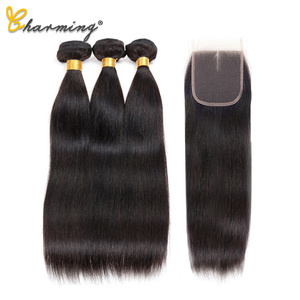Image 3 - CHARMING Straight Bundles With Closure Brazilian Hair Weave Bundles With Closure Human Hair Bundles With Closure Hair Extension
