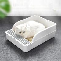Cat Litter Box Anti Splash Semi Enclosed Deodorant Pet Dog Toilet Bedpan Cat Toilet Pan Sandbox with Shovel for Cats Small Dogs
