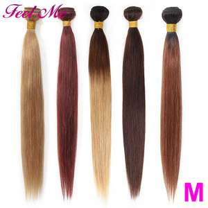 Brazilian Straight Bundles Hair-Extension Ombre Non-Remy Sew-In Middle-Ratio 1b/2/4-/..