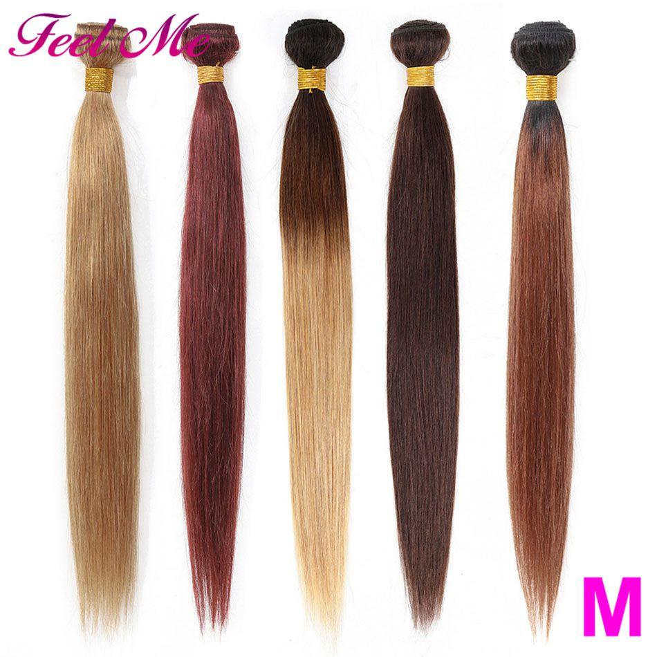 Feel Me Brazilian Straight Hair Bundles Ombre Human Pre-Colored 1B/27 99J Burgundy 1/3/4 Remy