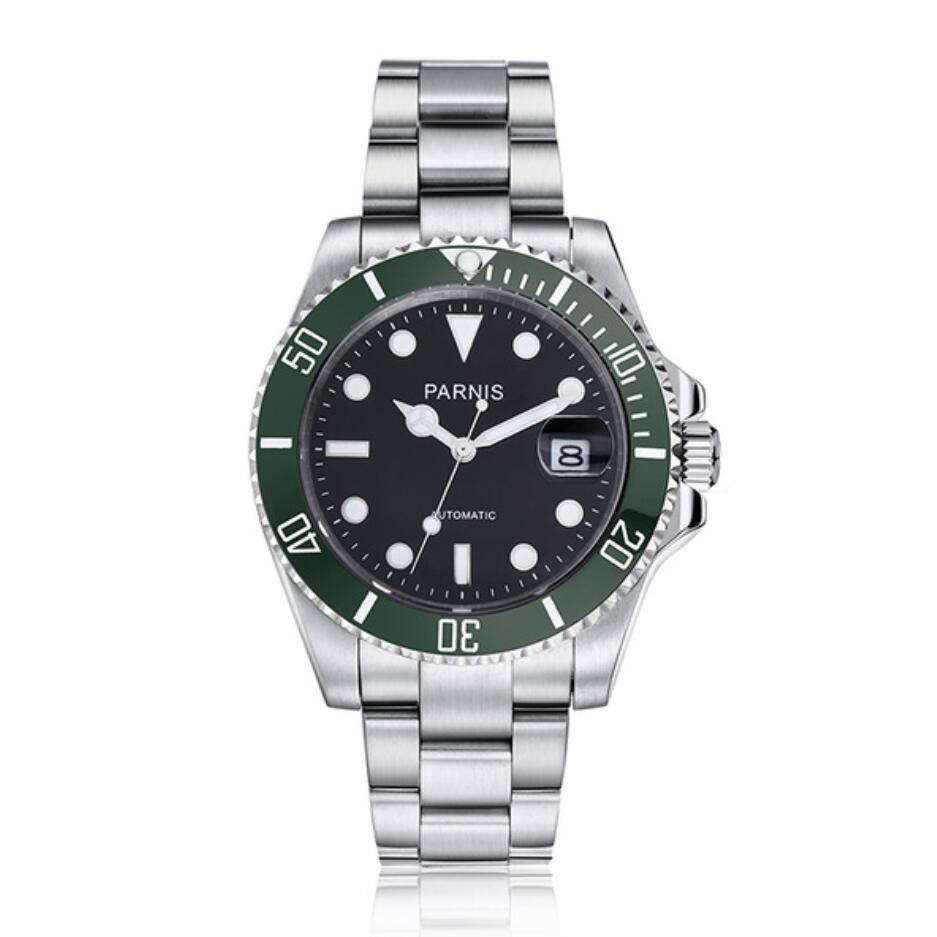 Parnis black dial green ceramic Bezel sapphire Men Automatic Watch Diver Steel Miyota 8215 Movement luxury marque Mens Watches