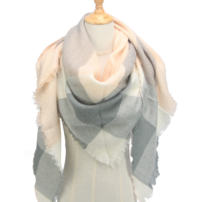 2019 New Women's Triangular Winter Scarf Plaid Warm Cashmere Scarves Female Shawls Pashmina Bandana Neck Wraps For Ladies