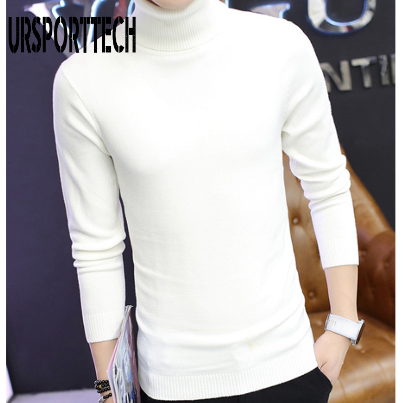 URSPORTTECH Turtleneck Mens Sweaters Wool Pullover Sweater Male Oversized Turtle Neck Men Sweter Pull Jumper Korean Style White