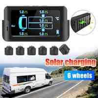 Solar coche inteligente TPMS sistema de supervisión de presión de neumáticos Digital LCD de visualización de alarma de seguridad para coche 6 sensores 122PSI 8.5Bar 800mAh
