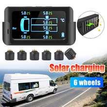 Sistema de supervisión de presión de neumáticos TPMS para coche inteligente, Solar, pantalla LCD Digital, alarma de seguridad para coche, 6 sensores, 122PSI, 8.5Bar, 800mAh
