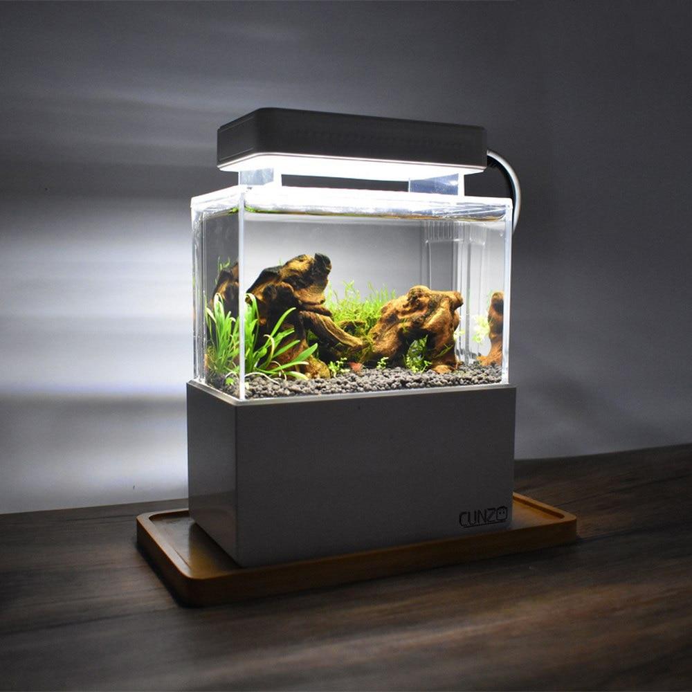 Mini Betta Fish Tank Desktop Marine Aquaponic Aquarium Fishes Bowl With Water Fliter LED Light USB Air Pump Portable Decorations