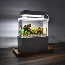 Mini Betta akwarium pulpit Marine Aquaponic akwarium ryby miska z Fliter wody LED Light USB pompa powietrza przenośne dekoracje