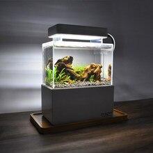 Mini Betta Aquarium Desktop Marine Aquaponic Aquarium Vissen Kom Met Water Fliter Led Licht Usb Luchtpomp Draagbare Decoraties