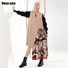 цена на Unua amo V-neck Women's Vest Long Fashion Patctwork Irregular Hem Design Spring Waistcoat Sleeveless Jacket Woman