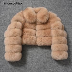 Image 1 - Damski Top Quality prawdziwy lis kurtki futrzane zimowy gruby krótki płaszcz puszysty płaszcz z pełnym rękawem miękki ciepły S7636