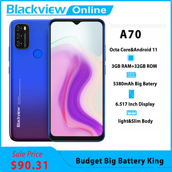 Blackview A70 Android 11 Smartphone 5380mAh Big Battery Octa Core 3GB RAM+32GB ROM 6.517Inch Display 13MP Camera 4G Moible Phone