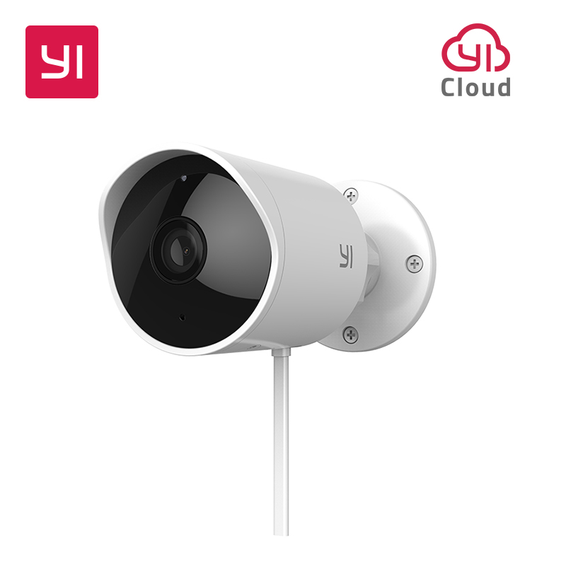 YI Outdoor Security Camera SD Card Slot &Cloud IP Cam Wireless 1080p Waterproof Night Vision Security Surveillance System White