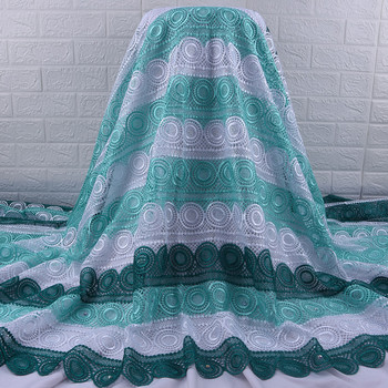 Zhenguiru New Arrival African Lace Fabric Green Nigerian Water Solbule Lace Fabric Beautiful Lace Cloth With Rhinestones A1847