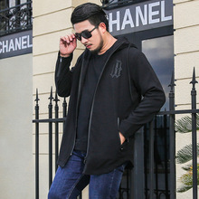 Fashion casual windbreaker men hooded jacket high spring and autumn long section oversized XL-6XL