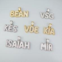 Necklace Chain Pendants Bubble-Letters Custom Sliver-Color Gold Jewelry Zircon Names