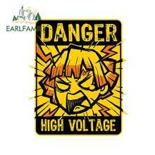 Earlfamily 13cm para demon slayer gráficos zenitsu alta tensão adesivos auto vinil parede decalques do carro aviso anime adesivo