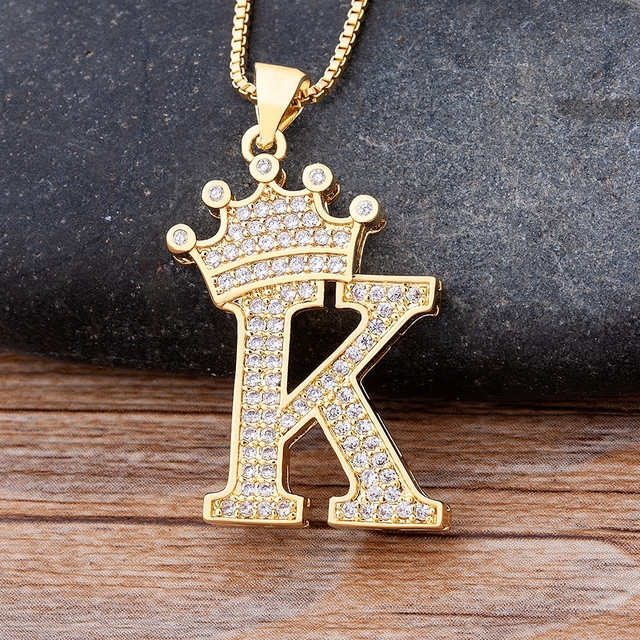 New Design 26 Letters A-Z Zircon Crown Initial Alphabet Pendant Necklace Handsome Punk Hip-Hop Style Choker Chain Jewelry Gift 1