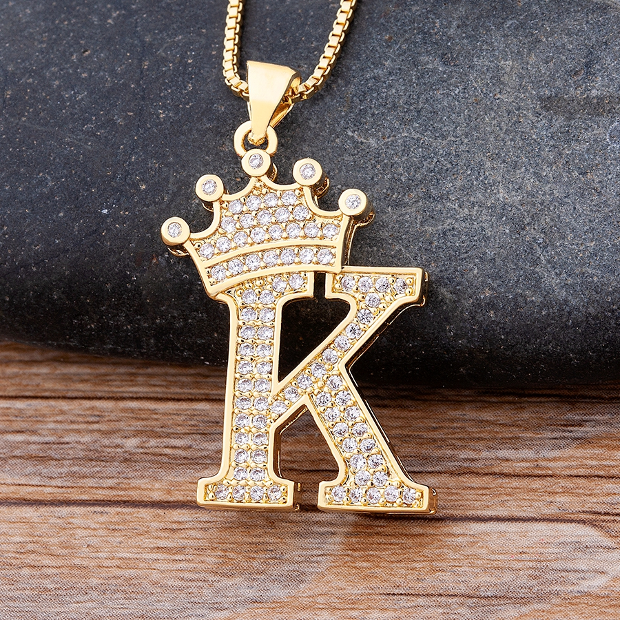 New Design 26 Letters A-Z Zircon Crown Initial Alphabet Pendant Necklace Handsome Punk Hip-Hop Style Choker Chain Jewelry Gift