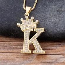 Choker Chain Necklace Jewelry Gift Zircon Alphabet Pendant Crown Punk Hip-Hop-Style 26-Letters