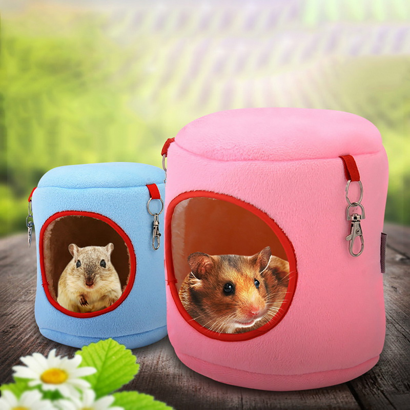 Hamster & Small Pet Winter Bed Cute Plush Cotton Guinea Pig Hamster Hedgehog Rabbit Chinchilla Rat Round Hanging Warm Cage