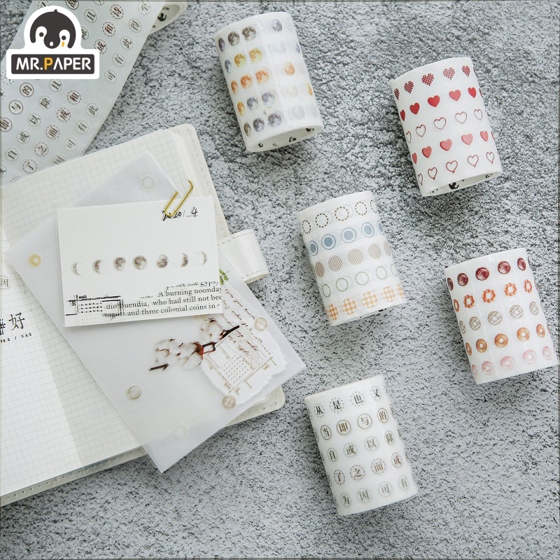 Mr.Paper 5 Designs Salt Dot Bullet Journaling DIY Write-on Minimalist Washi Tapes Deco Label Craft Masking Easy To Tear 60mm*3m