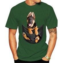 2021 moda 100% algodão o-pescoço camiseta pastor alemão não bolso amantes do cão preto algodão masculino
