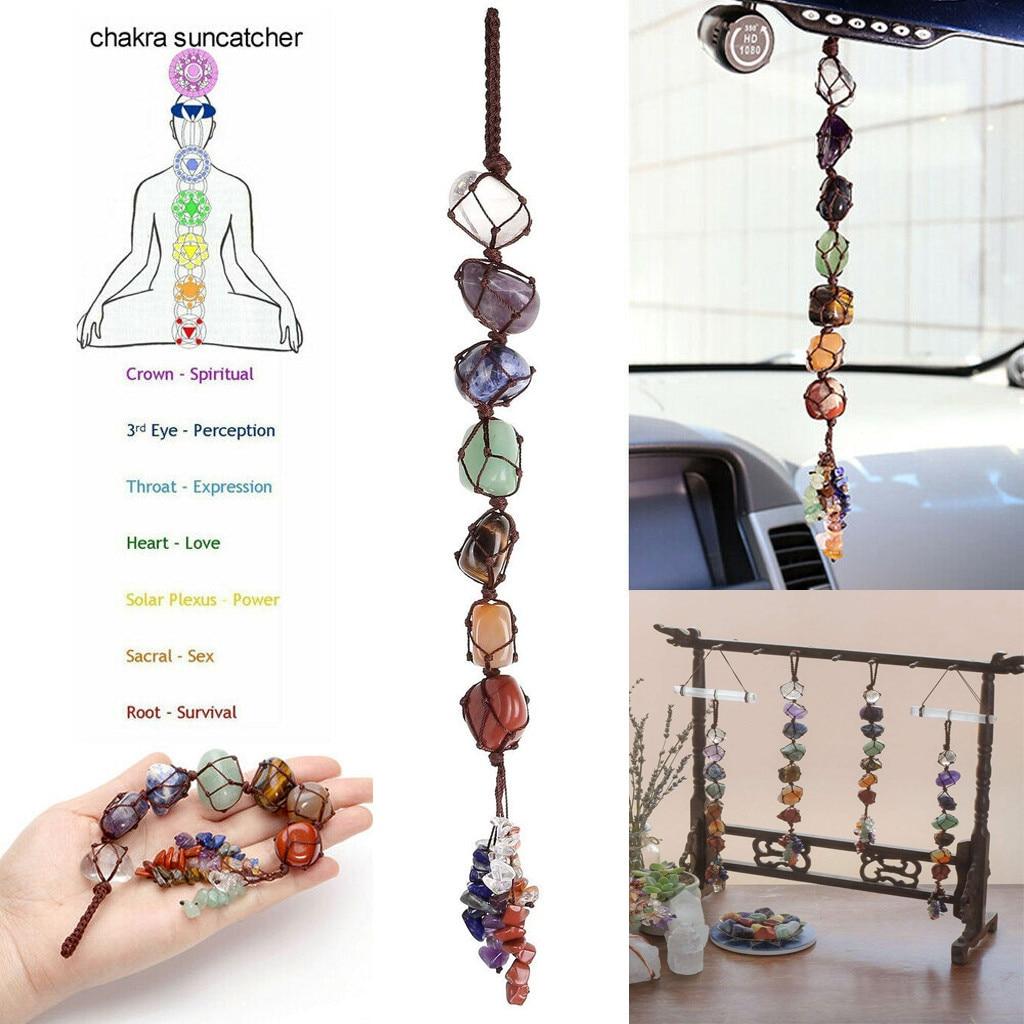 7 chakra caiu pedra preciosa borla pendurado/feng shui ornamento pedras