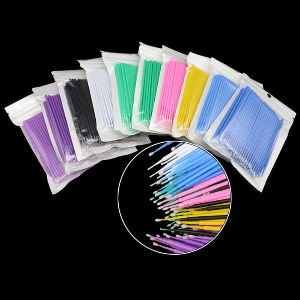 100Pcs Disposable Makeup Brushes Swab Microbrushes Eyelash Extension Cotton Swab Makeup Accessories Mascara Removing Tools Swabs