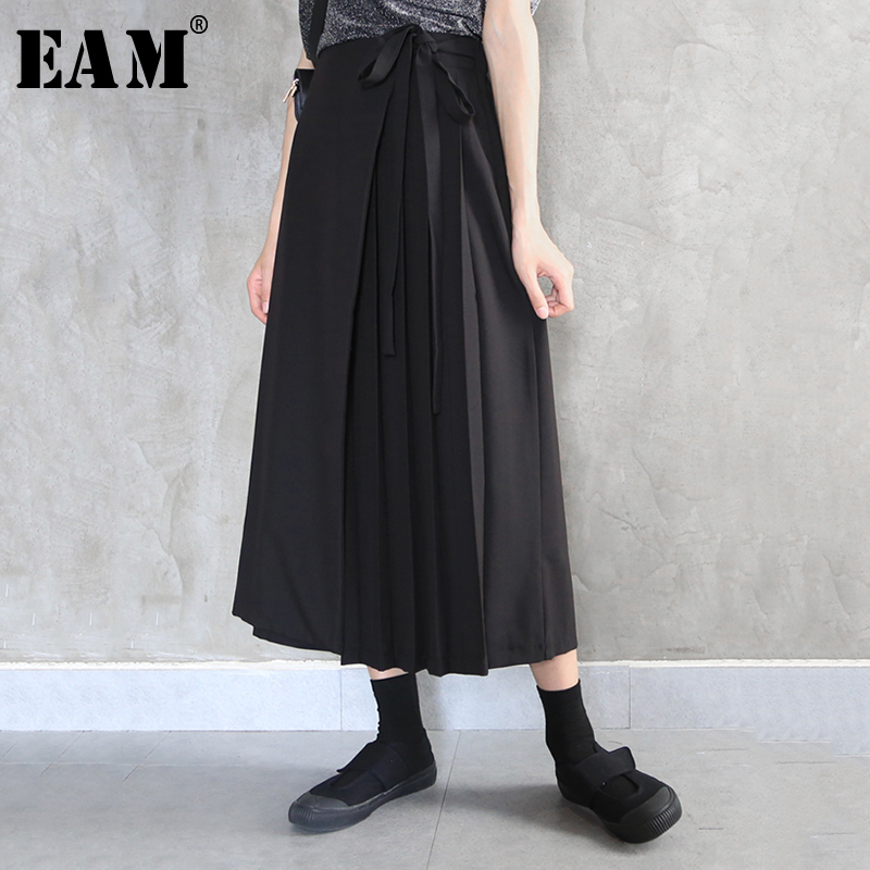 [EAM] High Elastic Waist Black Bandage Pleated Wide Leg Trousers New Loose Fit Pants Women Fashion Tide Spring Autumn 2020 1N549